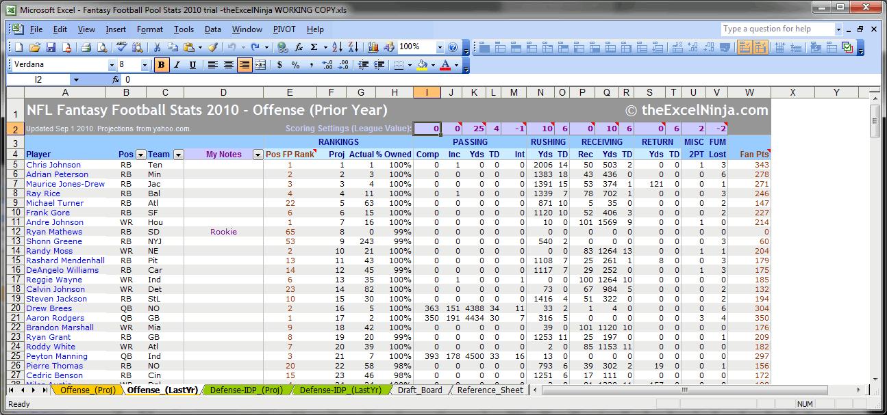 draft spreadsheet nfl stats spreadsheet 2012 fantasy football